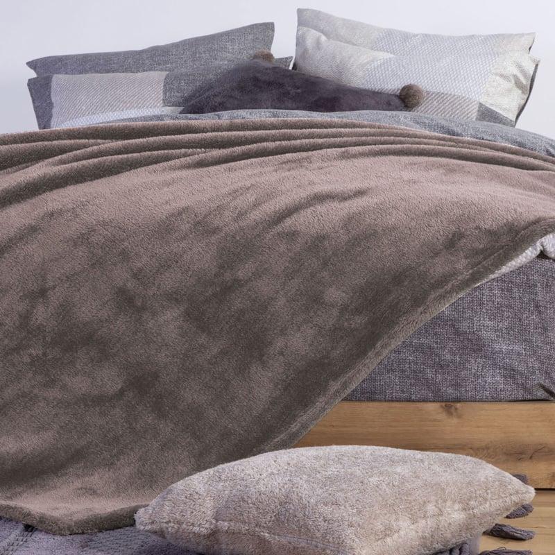 Κουβέρτα Fleece Υπέρδιπλη 240X220 Nef Nef Nasty Beige (240x220)
