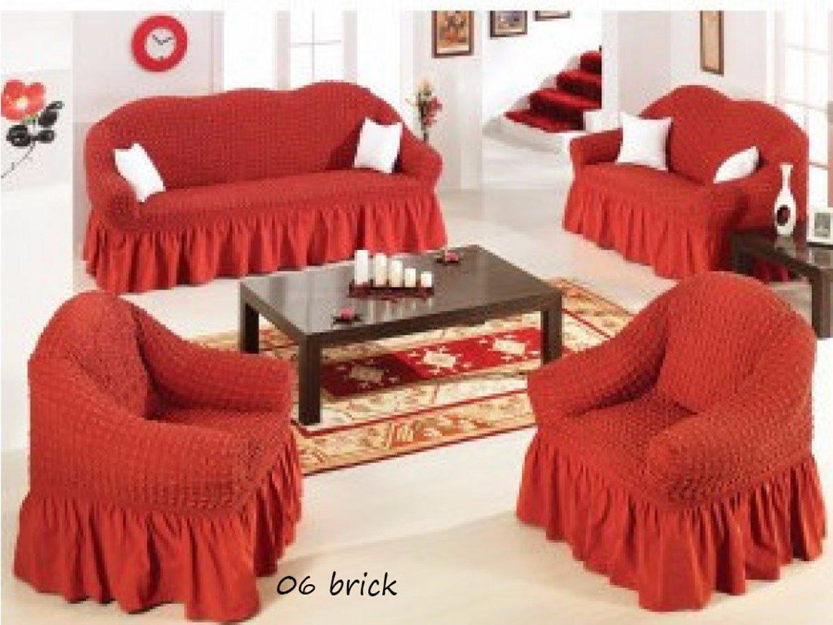 Ελαστικό κάλυμμα καναπέ 70% βαμβάκι 30% λύκρα σετ 3 τεμάχια Αίθριο-Κεραμιδί-6+ Χρώματα Διαθέσιμα-Καλύμματα Σαλονιού-Ίσια πλάτη + Αχιβάδα