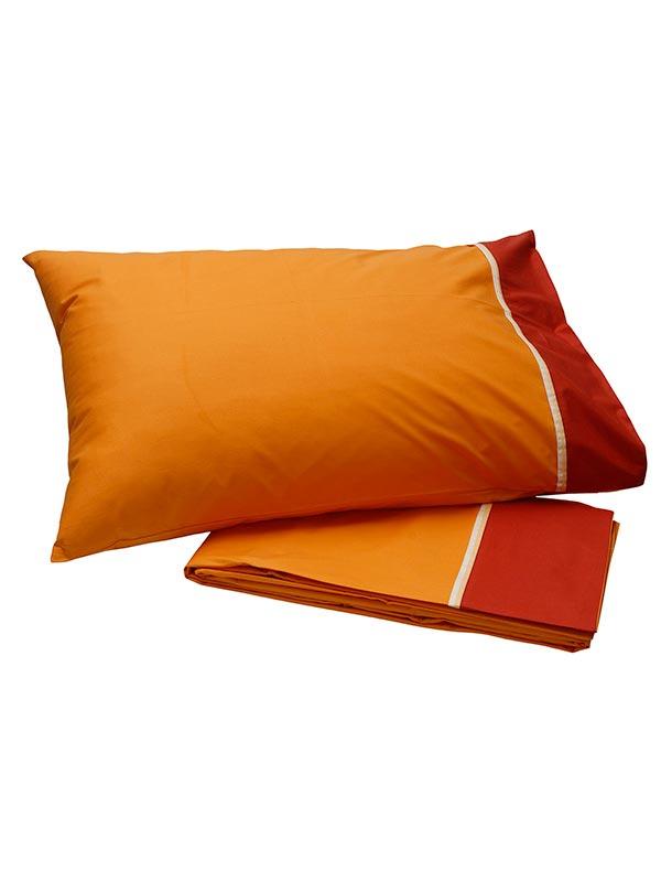 Σεντόνια Μονά (Σετ) 160X260 Sunshine Percale Orange Χωρίς Λάστιχο (160×260)
