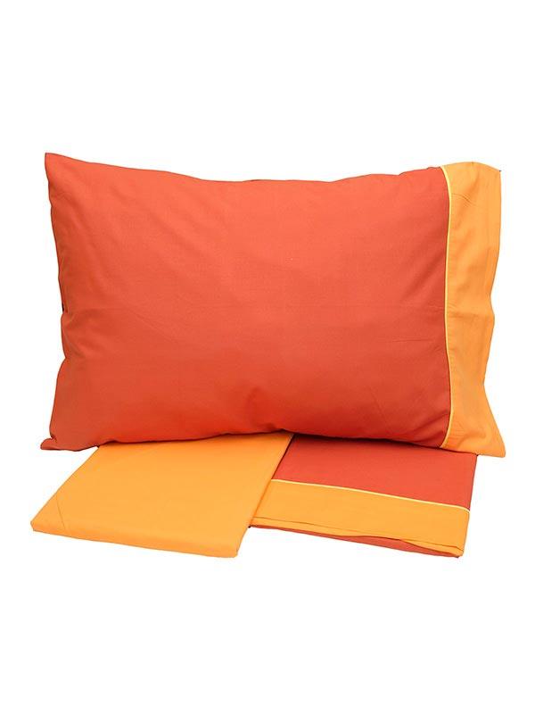 Σεντόνια Μονά (Σετ) 160X260 Sunshine Cotton Feelings 2219 Orange Χωρίς Λάστιχο (160×260)