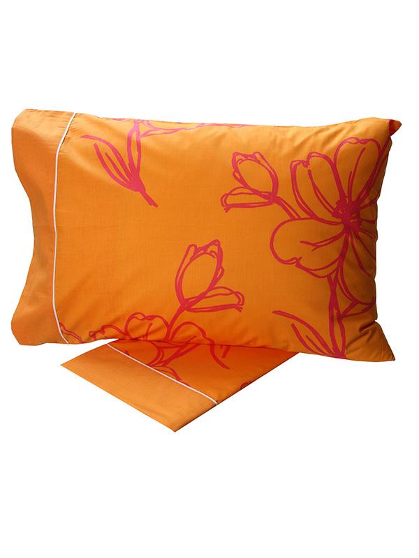 Σεντόνια Υπέρδιπλα (Σετ) 220X260 Sunshine Cotton Feelings 537 Orange Χωρίς Λάστιχο (220×260)