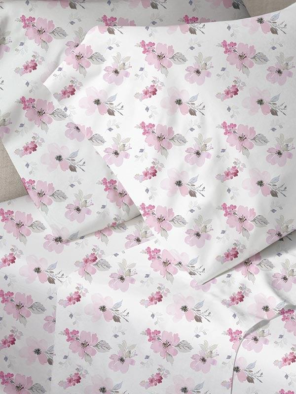 Σεντόνια Μονά (Σετ) 160X250 Sunshine Menta 030 Pink Χωρίς Λάστιχο (160×250)