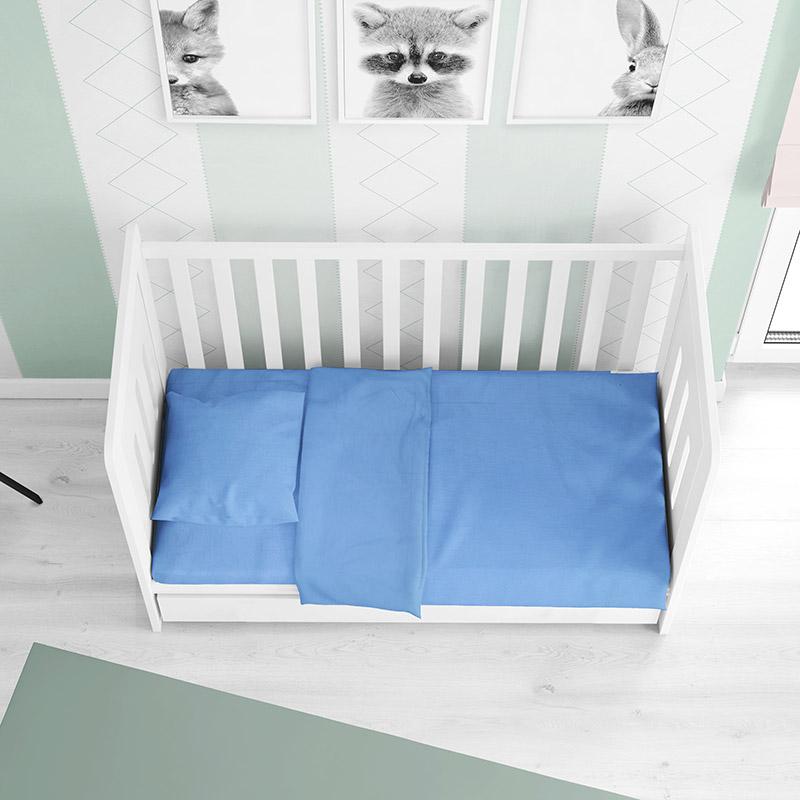 Σεντόνια Κούνιας (Σετ) 120X160 Dimcol Solid Sky Blue Χωρίς Λάστιχο (120×160)