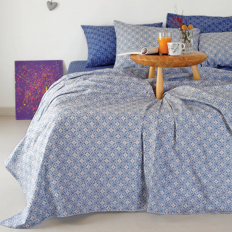 Σεντόνια King Size (Σετ) 260X270 Melinen Alexa Blue Χωρίς Λάστιχο