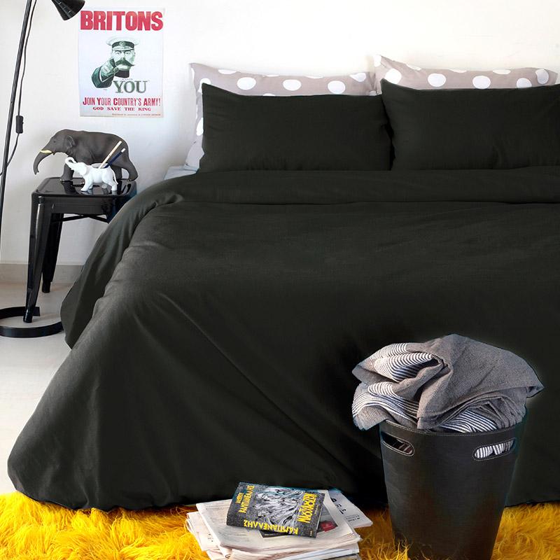 Σεντόνια Υπέρδιπλα (Σετ) 160X200+32 Melinen Urban Black Με Λάστιχο (160×200+32)