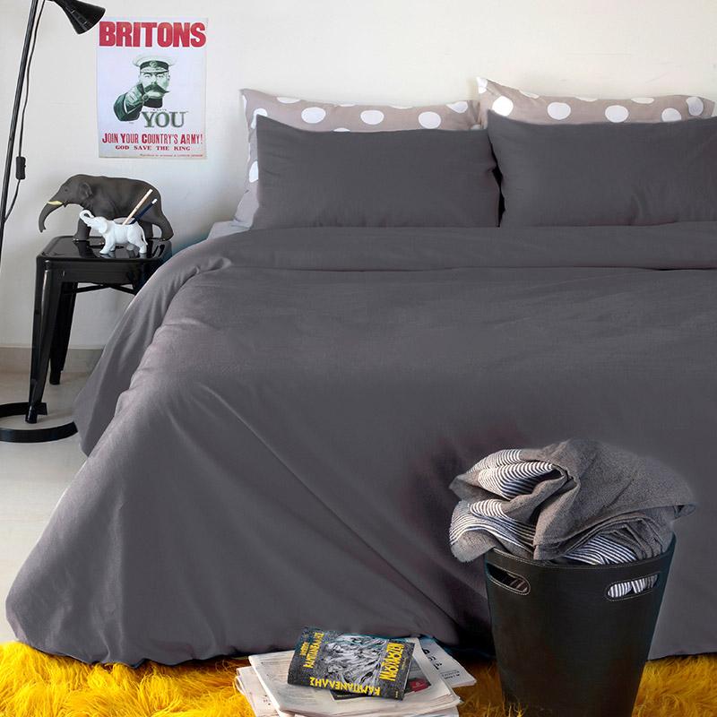 Σεντόνια Υπέρδιπλα (Σετ) 160X200+32 Melinen Urban Dark Grey Με Λάστιχο (160×200+32)