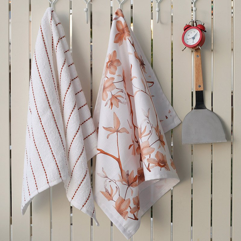 Σετ Πετσέτες Κουζίνας (2 Τμχ) 40X60 Melinen Floral Εμπριμε