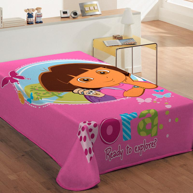 Κουβέρτα Βελουτέ Μονή 160X220 Dimcol Disney Dora – Ροζ