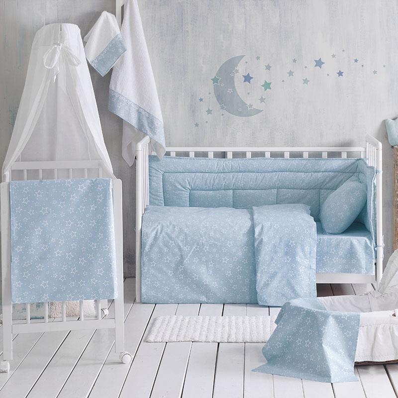 Σεντόνια Κούνιας (Σετ) 120X160 Rythmos Bright Baby Blue Χωρίς Λάστιχο