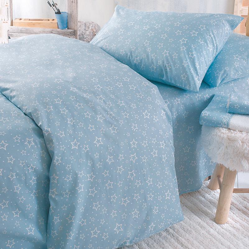 Σεντόνια Μονά (Σετ) 105X205+25 Rythmos Bright Baby Blue Με Λάστιχο