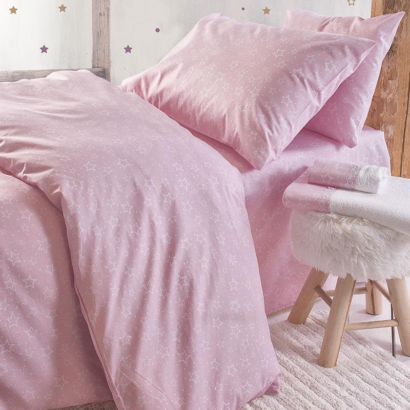 Σεντόνια Μονά (Σετ) 160X260 Rythmos Bright Baby Pink Χωρίς Λάστιχο