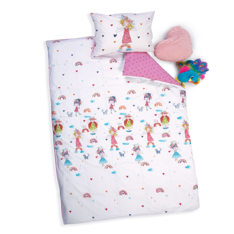 Σεντόνια Μονά (Σετ) 170X260 Nef Nef Rainbow Girls White/Pink Χωρίς Λάστιχο