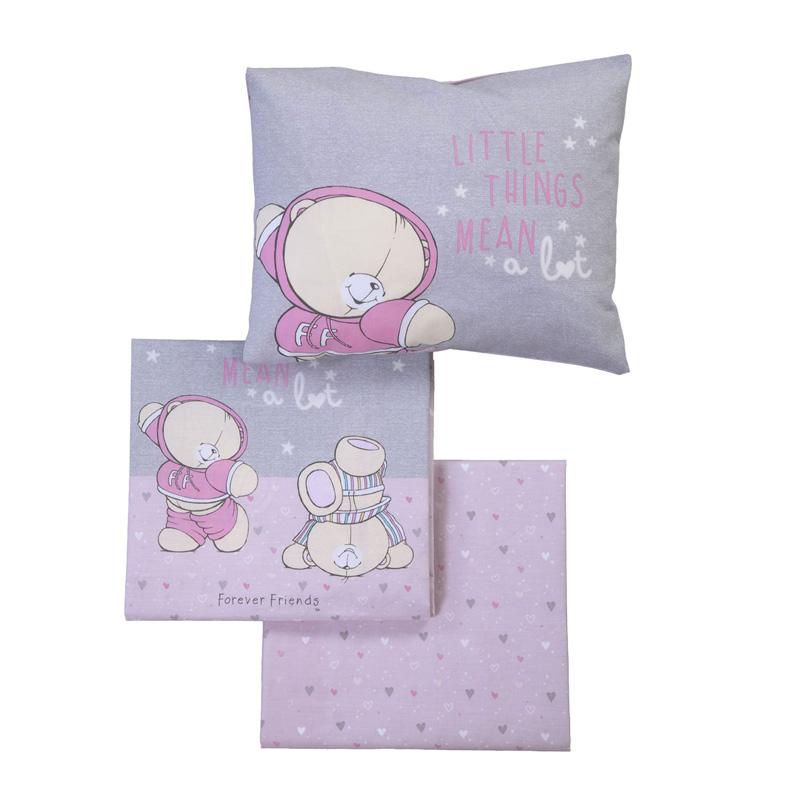 Σεντόνια Κούνιας (Σετ) 120X170 Nef Nef Ff Little Things Pink/Grey Χωρίς Λάστιχο