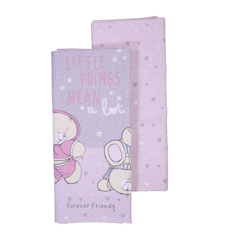 Σεντόνια Λίκνου (Σετ 2 Τμχ) 70X120 Nef Nef Ff Little Things Pink/Grey Χωρίς Λάστιχο