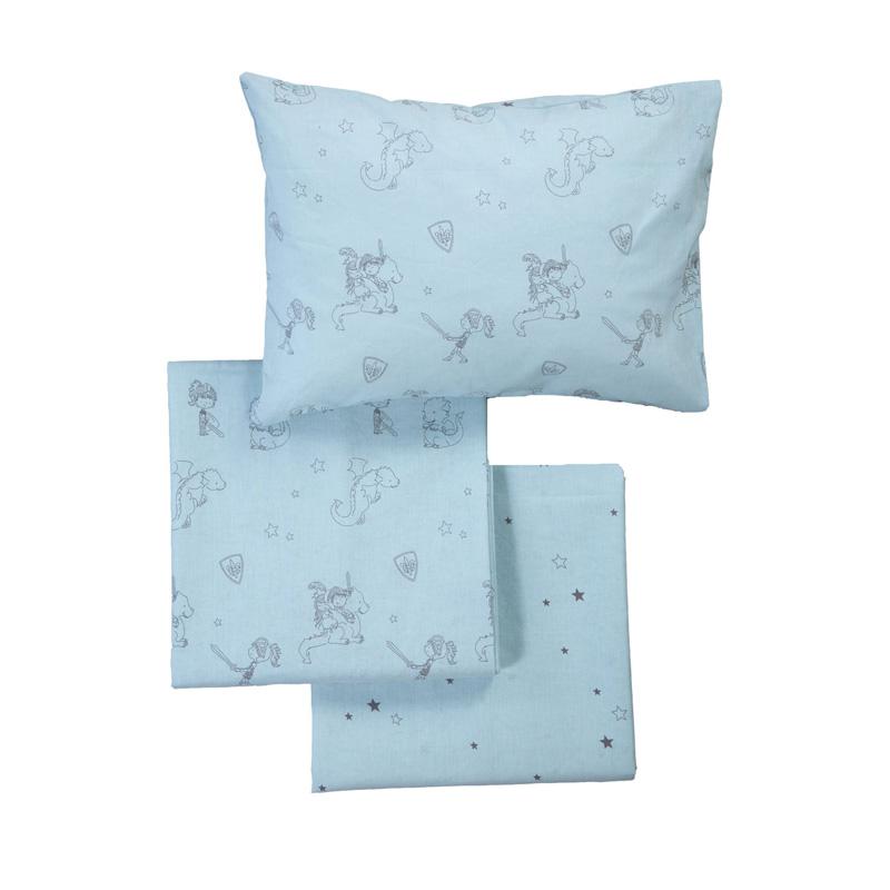 Σεντόνια Κούνιας (Σετ) 120X170 Nef Nef Lanselot Aqua Χωρίς Λάστιχο