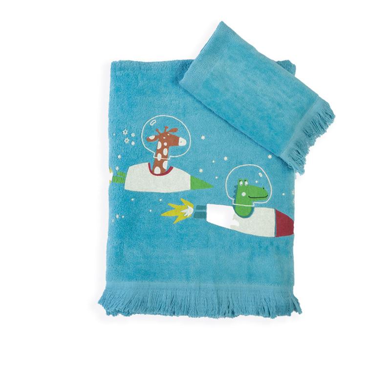 Παιδικές Πετσέτες (Σετ 2 Τμχ) Nef Nef Space Zoo Petrol