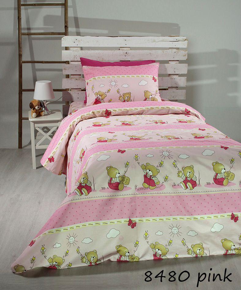 Σεντόνια Μονά (Σετ) Pink bears 8480