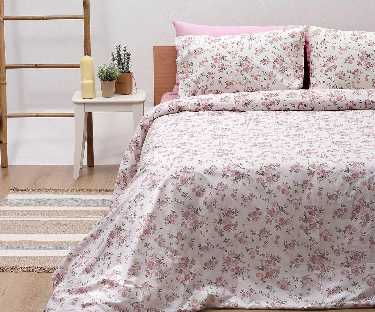 Σεντόνια Διπλά (Σετ) Pink Flowers 929 λευκά είδη υπνοδωμάτιο σεντόνια ημίδιπλα διπλά σεντόνια
