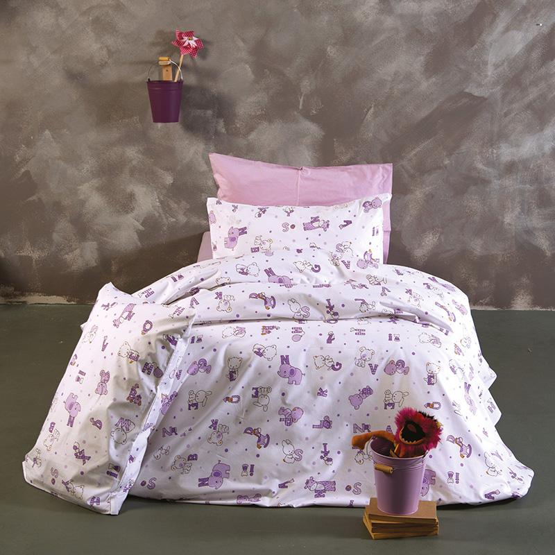 Σεντόνια Μονά (Σετ) 160X240 Sb Home Alphabet Lilac Χωρίς Λάστιχο