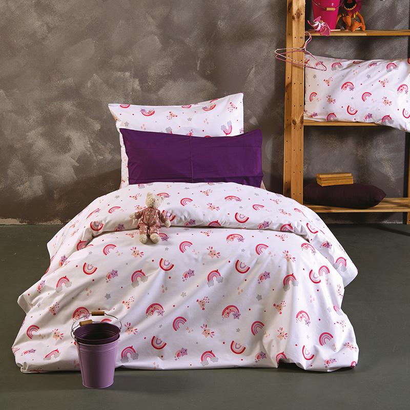 Σεντόνια Μονά (Σετ) 160X240 Sb Home Baby Rainbow Pink Χωρίς Λάστιχο