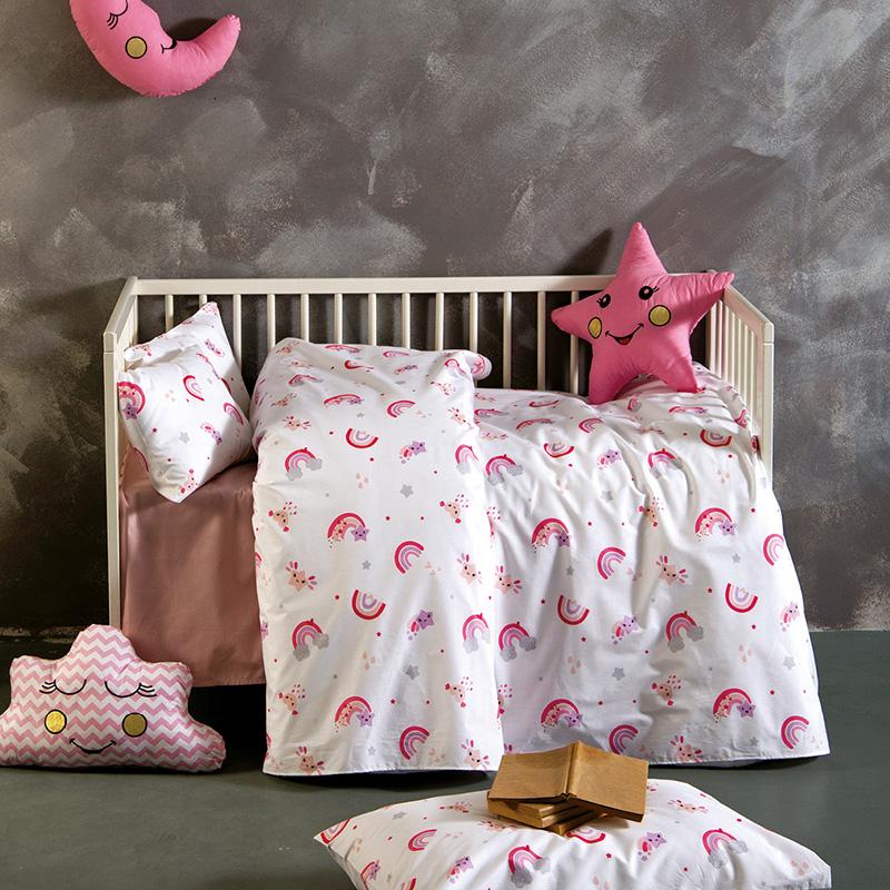 Σεντόνια Λίκνου (Σετ 2 Τμχ) 80X110 Sb Home Baby Rainbow Pink Χωρίς Λάστιχο