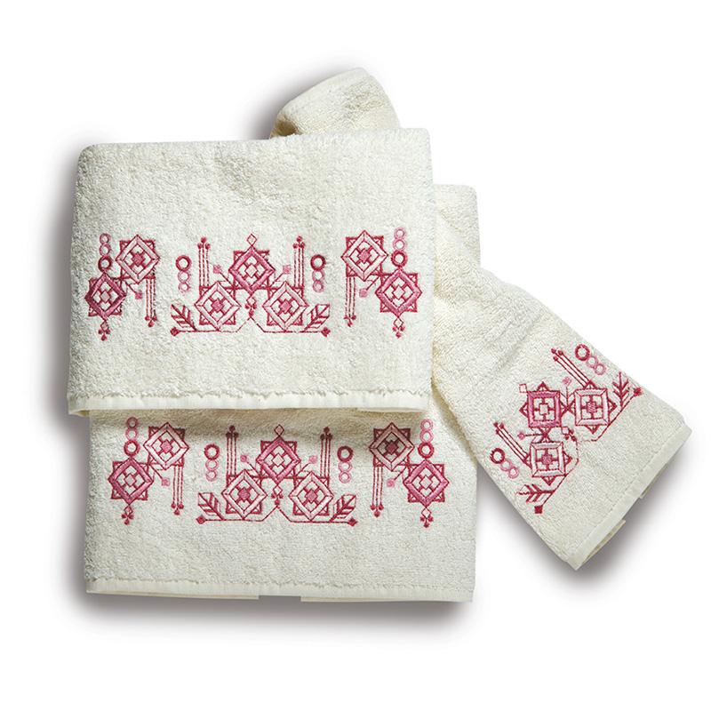 Πετσέτες Μπάνιου (Σετ 3 Τμχ) Sb Home Squares Pink