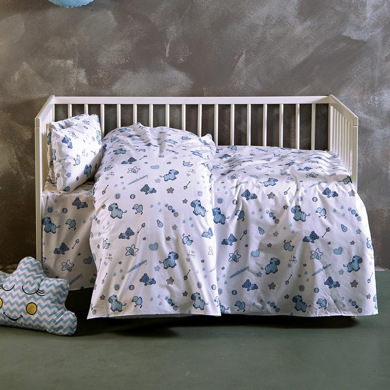 Σεντόνια Κούνιας (Σετ) 120X160 Sb Home Sweet Baby Blue Χωρίς Λάστιχο
