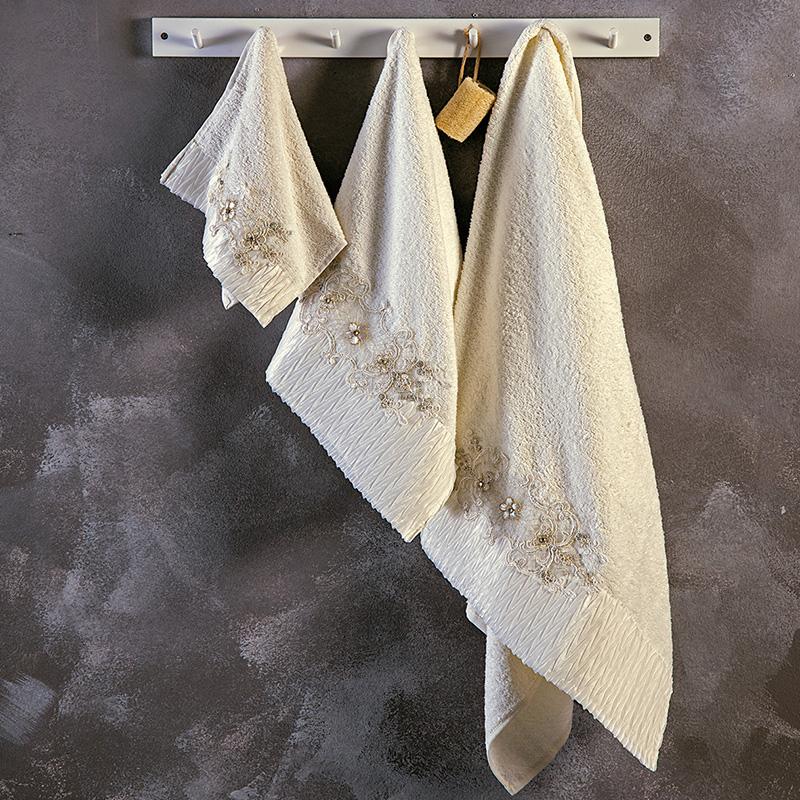 Πετσέτες Μπάνιου (Σετ 3 Τμχ) Sb Home Terina Cream