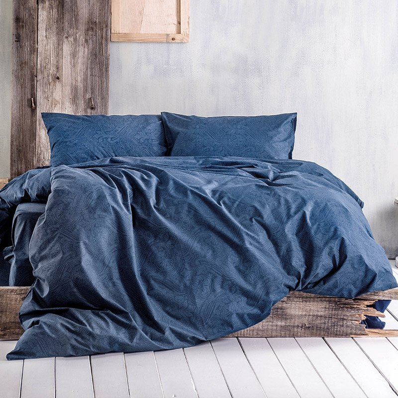 Σεντόνια Υπέρδιπλα (Σετ) 160X205+25 Rythmos Charisma Μπλε Με Λάστιχο