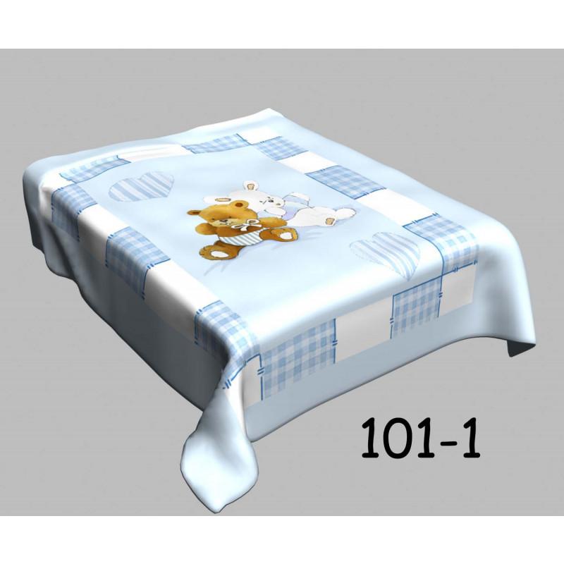 Απαλή κουβέρτα βελουτέ κούνιας 101-1 blue bear