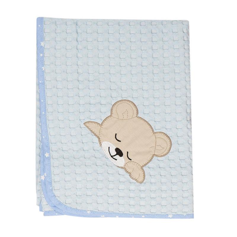 Κουβέρτα Πικέ Κούνιας 100X160 Dimcol Sleeping Bears Cub 14 Σιελ