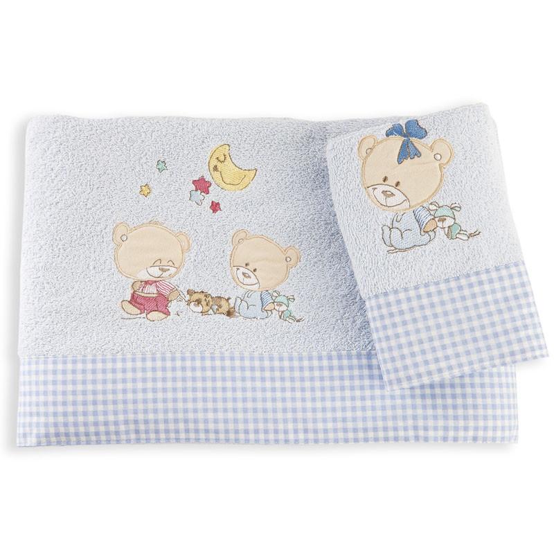 Βρεφικές Πετσέτες (Σετ 2 Τμχ) Dimcol Happy Bears 19 Σιελ