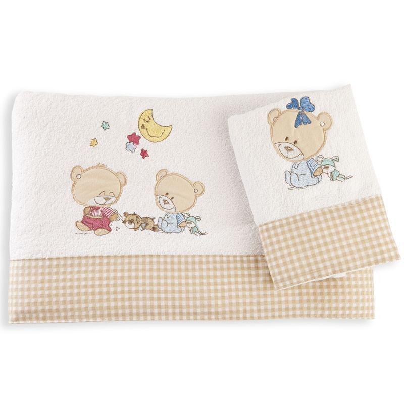Βρεφικές Πετσέτες (Σετ 2 Τμχ) Dimcol Happy Bears 21 Λευκό