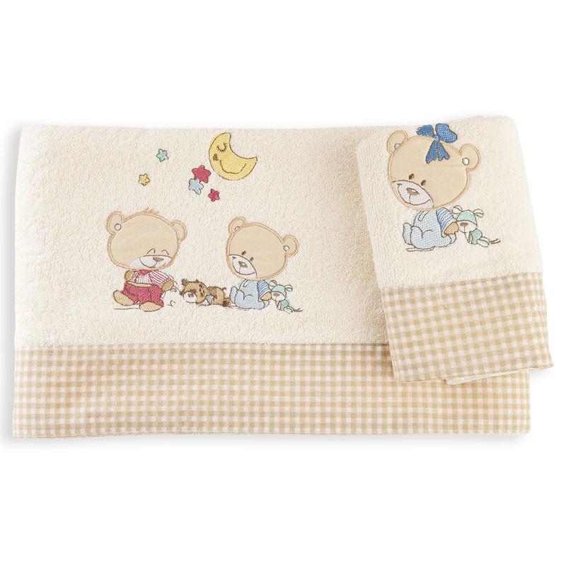 Βρεφικές Πετσέτες (Σετ 2 Τμχ) Dimcol Happy Bears 22 Εκρου
