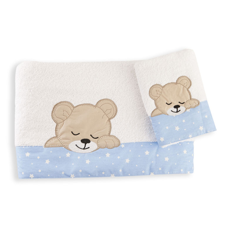 Βρεφικές Πετσέτες (Σετ 2 Τμχ) Dimcol Sleeping Bears Cub 11 Σιελ