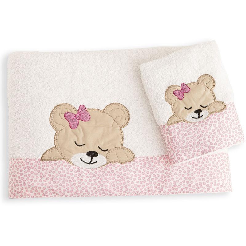 Βρεφικές Πετσέτες (Σετ 2 Τμχ) Dimcol Sleeping Bears Cub 12 Ροζ