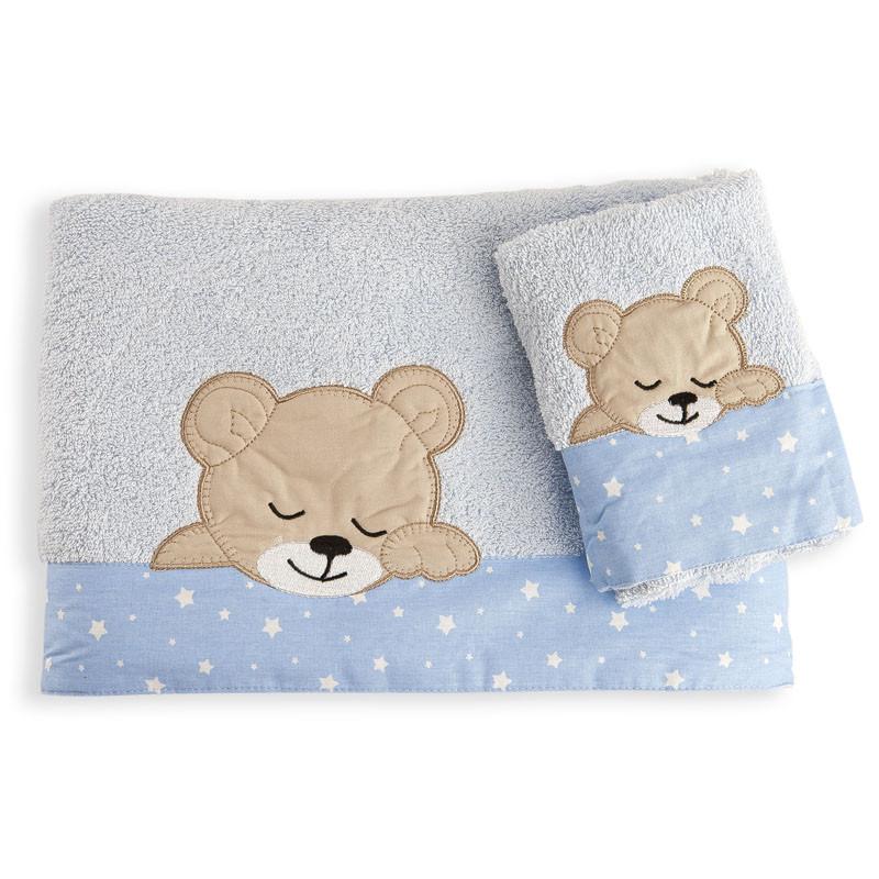 Βρεφικές Πετσέτες (Σετ 2 Τμχ) Dimcol Sleeping Bears Cub 13 Σιελ