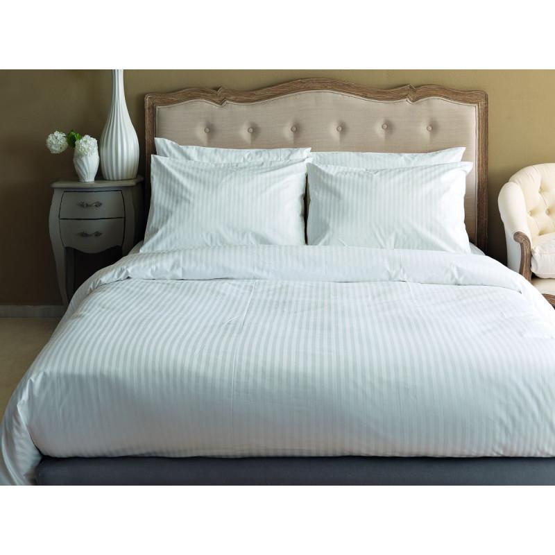 Παπλωματοθήκη Μονή 160x240 White Stripes Plain Palamaiki White Comfort Ριγέ