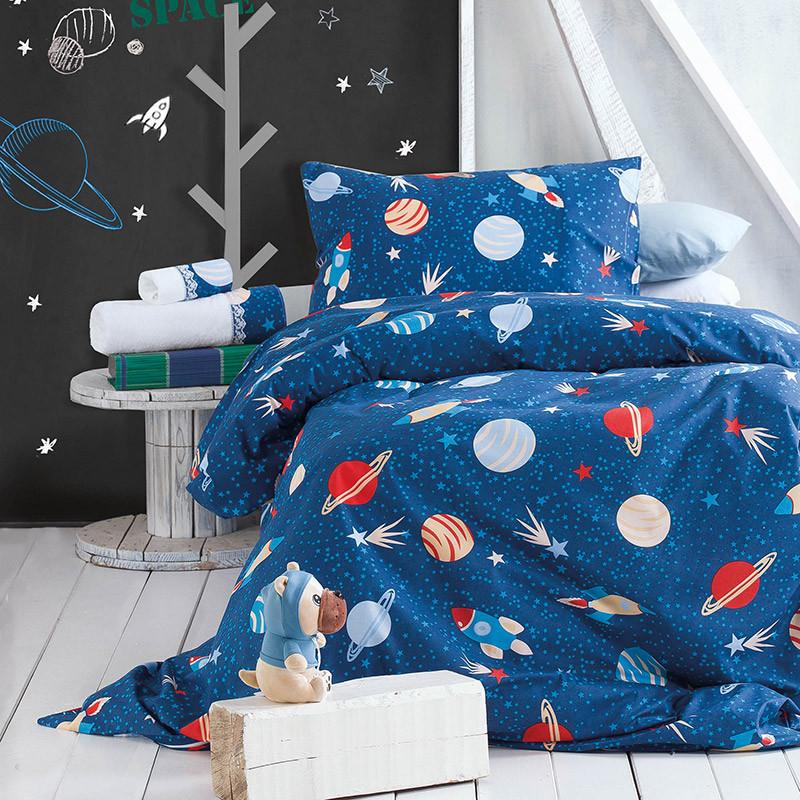 Σεντόνια Μονά (Σετ) 160X260 Rythmos Space Odyssey Μπλε