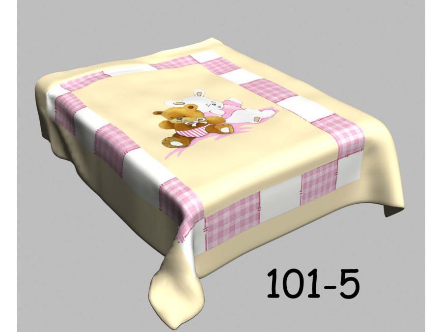 Απαλή κουβέρτα βελουτέ κούνιας 101-5 pink bear