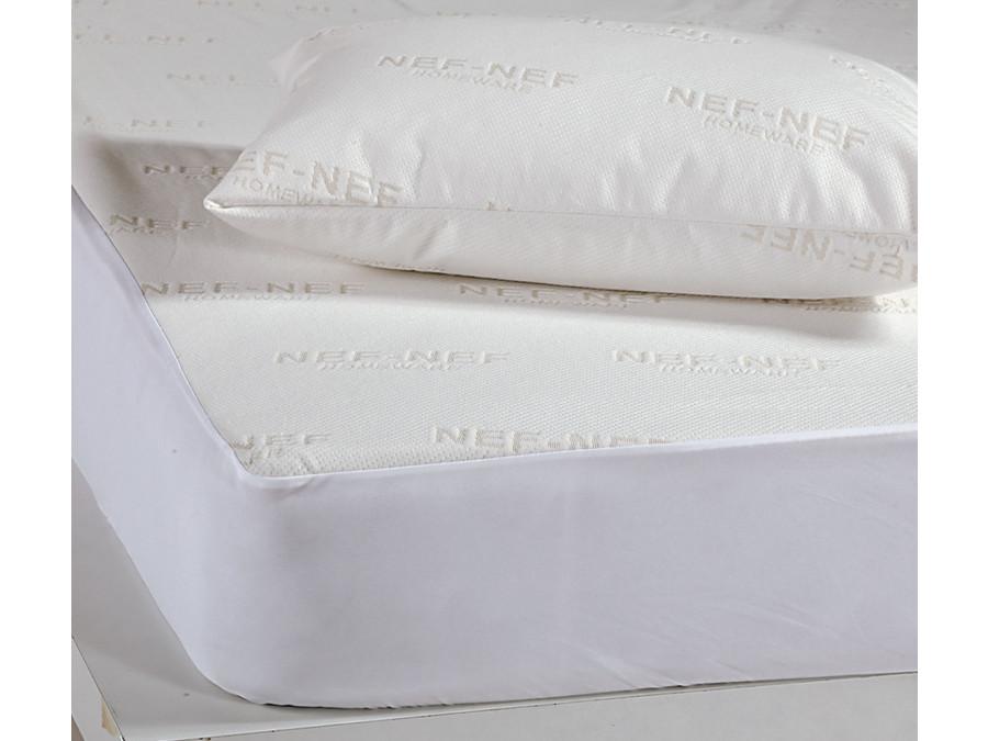 Αδιάβροχο Επίστρωμα Υπέρδιπλο 160x200+30 Nef Nef White Linen Ζακαρ/Pu Λευκό