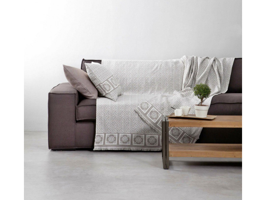 Διακοσμητική Μαξιλαροθήκη 50x50 πάνελ - Nima Meandri Beige