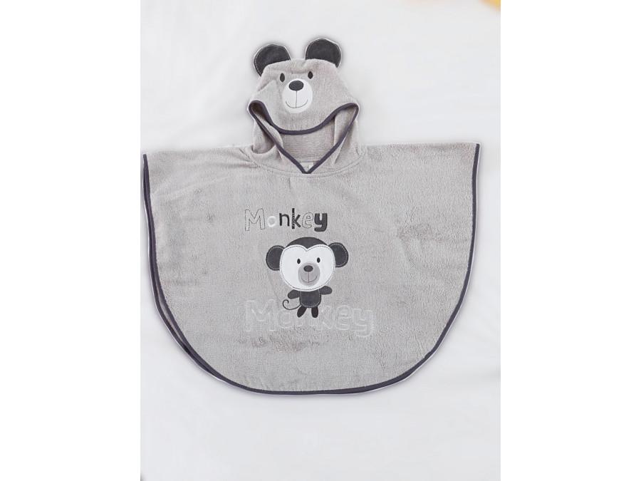 Βρεφικό Poncho 60x76 Monkey Palamaiki Funny Faces