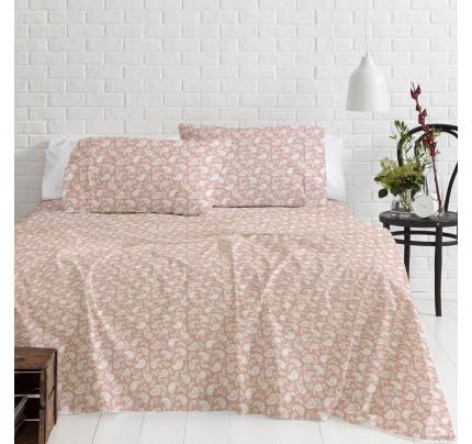 Φανελένια Σεντόνια Υπέρδιπλα (Σετ) 100% Βαμβάκι 1232 Pink