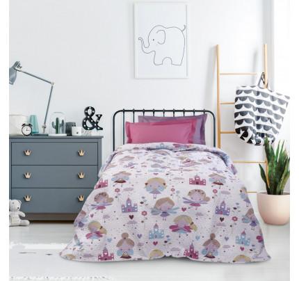 Κουβερλί Μονό 160x240 Das Home Kid 4684 Ροζ-Γαλαζιο-Λευκο