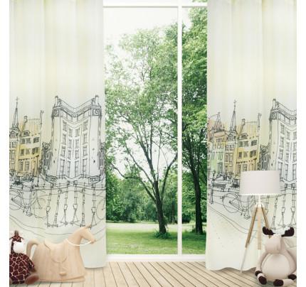Κουρτίνα Με Τρουκς 140x280 Das Home Curtain 2119 Εκρου-Γκρι-Μεντα-Κρεμ