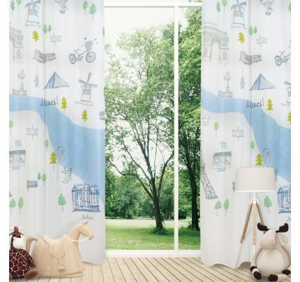 Κουρτίνα Με Τρουκς 140x280 Das Home Curtain 2120 Εκρου-Γκρι-Σιελ