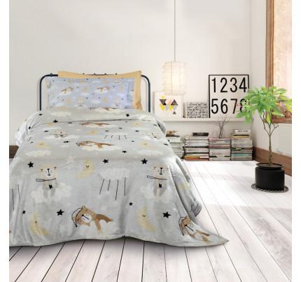 Κουβέρτα Fleece Μονή 160x220 Das Home Kid 4703 Γκρι-Μπεζ
