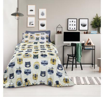 Κουβέρτα Fleece Μονή 160x220 Das Home Kid 4708 Γκρι-Ωχρα
