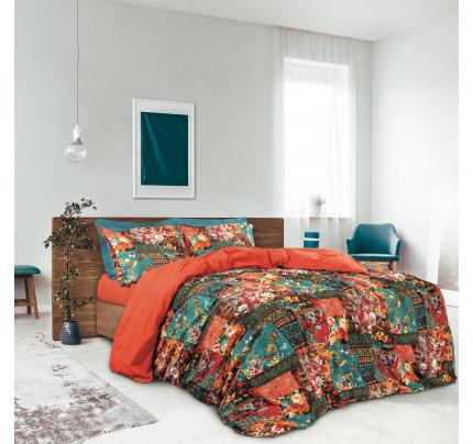 Σεντόνια Υπέρδιπλα (Σετ) 230x260 Das Home Best 4695 Κεραμιδι-Πετρολ-Πορτοκαλι Χωρίς Λάστιχο